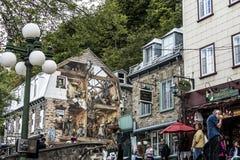 Quebec Kanada 13 09 Royale Old för stället för väggen för konst för freskomålningFresque Quebecois målning målade den lägre stade Royaltyfri Bild
