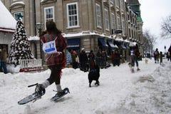 Quebec-Karneval: Snowshoeing Rennen. Stockfoto