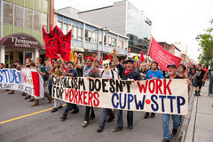 Quebec-Kursteilnehmerprotestsammlung Stockfoto