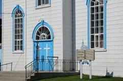 Quebec, la iglesia histórica de Baie Sainte Catherine Fotos de archivo