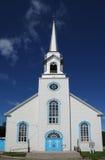 Quebec, la iglesia histórica de Baie Sainte Catherine Foto de archivo