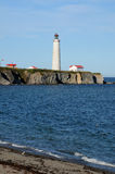 Quebec, the lighthouse of Cap les Rosiers in Gaspesie Royalty Free Stock Image