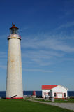Quebec, the lighthouse of Cap les Rosiers in Gaspesie Royalty Free Stock Photography