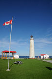 Quebec, the lighthouse of Cap les Rosiers in Gaspesie Stock Photography