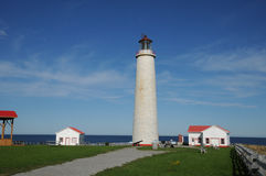 Quebec, the lighthouse of Cap les Rosiers in Gaspesie. Canada, Quebec, the lighthouse of Cap les Rosiers in Gaspesie Stock Images