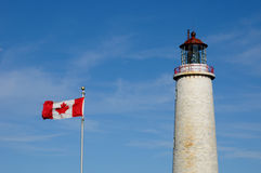 Quebec, the lighthouse of Cap les Rosiers in Gaspesie Royalty Free Stock Images