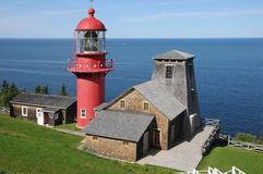 Quebec, the lighthouse of Pointe a la Renommee in Gaspesie Royalty Free Stock Photo