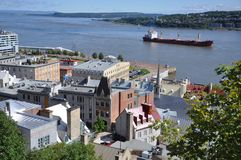 Quebec City and St. Lawrence River. Quebec Lower City and St. Lawrence River in summer, Quebec, Canada royalty free stock image
