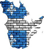 Quebec map on a brick wall. Illustration Stock Photo