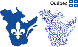 Quebec map with Fleur de Lys emblem Royalty Free Stock Image