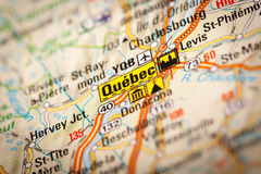 Quebec. Map Photography: Quebec City on a Road Map Stock Photo