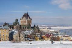 Quebec miasta linia horyzontu w śniegu fotografia stock