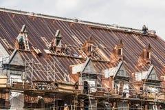 Quebec miasto Kanada 19 09 2017 Dachowy przywrócenie rozsławiał Quebec zbrojowni odbudowy podąża ogień niszczącego artykuł wstępn Obrazy Stock