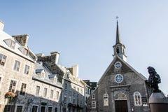Quebec miasto Kanada 13 09 2017 miejsc Royale Notre Damae De Zwycięstwo Kościół i placu Królewskiego UNESCO światowego dziedzictw Zdjęcie Stock