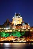 Quebec miasto przy nocą Zdjęcie Stock