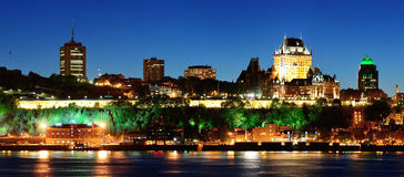 Quebec miasto przy nocą Zdjęcia Royalty Free