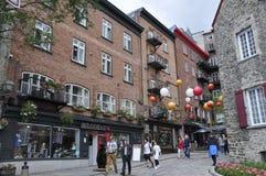 Quebec miasto, 28th Czerwiec: Kolorowi domy od Ruty Sous Le Fort Quebec miasto w Kanada zdjęcie stock