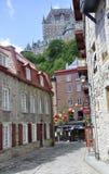 Quebec miasto, 28th Czerwiec: Kolorowi kamieni domy od Ruty Sous Le Fort Quebec miasto w Kanada zdjęcia royalty free