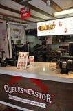 Quebec miasto, 28th Czerwiec: Restauracja Stać w kolejce De Rycynowy od bulwaru Champlain Quebec miasto w Kanada zdjęcie royalty free