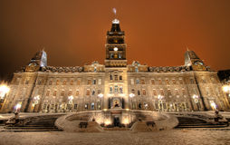 Quebec parliament. By a cold winter night Royalty Free Stock Photo