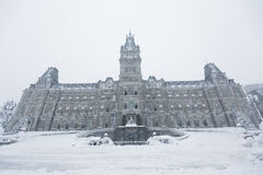 Quebec parliament Hôtel du Parlement in winter Royalty Free Stock Photography