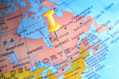 Quebec  pinned on a map of Canada.  Stock Images