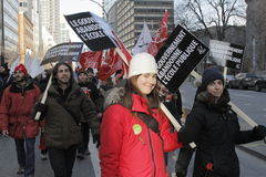 Quebec public sector strikes. Montreal, Quebec, Canada, 9 December 2015: Public-sector workers protest in Montreal members of Common Front union including Stock Photos