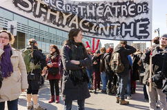 Quebec Saint-Hyacinte college students protest in Montreal Stock Images