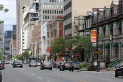 Quebec Sherbrooke mest ouest gata i Montreal Royaltyfria Foton