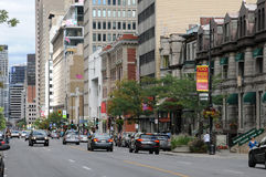 Quebec, Sherbrooke ouest street in Montreal Royalty Free Stock Photos