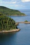 Quebec sjösidan av Tadoussac Arkivfoto