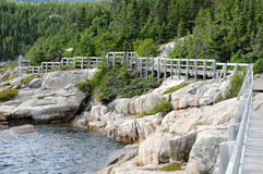 Quebec sjösidan av Tadoussac Arkivbild