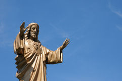Quebec, a statue of Jesus in the village of Baie des sables Royalty Free Stock Photography
