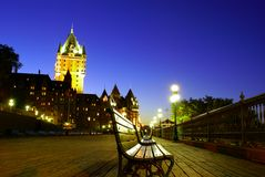 Quebec Terrasse Dufferin and Chateau Frontenac. Quebec City Terrasse Dufferin and Chateau Frontenac at night Stock Images