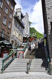 Quebec, 28th June: Casse - Cou or Breakneck Steps from Old Quebec City in Canada stock photography