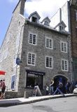 Quebec, 28th June: Historic Buildings from Rue Cote de la Montagne of Old Quebec City in Canada stock image