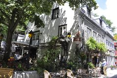 Quebec, 28th June: Terrace in Historic House on Rue du Champlain in Old Quebec City in Canada. Lapin Saute Terrace in Historic House from Rue du Champlain in Old stock photo