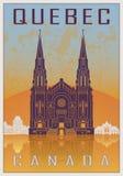 Quebec vintage poster vector illustration