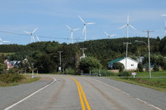 Quebec, wind generator in Cap Chat in Gaspesie Stock Photos