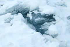 A quebra fresca quebrou o gelo grosso A agua potável fresca aumenta das profundidades e do gelo no frio Tempestade de gelo Foto de Stock Royalty Free