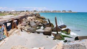 Quebra-mar com colocação de etiquetas no Oceano Índico: Fremantle, Austrália Ocidental Foto de Stock