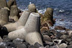 Quebra-mar, console de Miyake, Japão Fotos de Stock Royalty Free