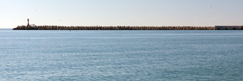 Quebra-mar dos blocos de cimento Sochi Rússia Imagem de Stock