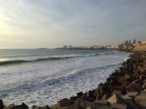 Quebra-mar em Cadiz, Andalucia imagem de stock royalty free