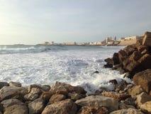 Quebra-mar em Cadiz, Andalucia Imagem de Stock