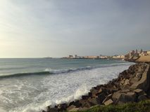 Quebra-mar em Cadiz, Andalucia Foto de Stock