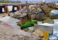 Quebra-mar: Etiquetando em Fremantle, Austrália Ocidental Foto de Stock