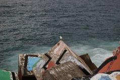 Quebra-mar formado com blocos de cimento coloridos fotografia de stock