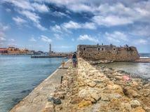 Quebra-mar Venetian de Chania imagem de stock royalty free