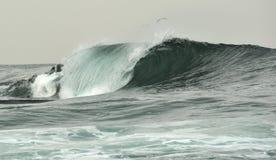 Quebra poderosa da onda de oceano Onda na superfície do oceano Rupturas da onda em um banco raso Imagens de Stock Royalty Free